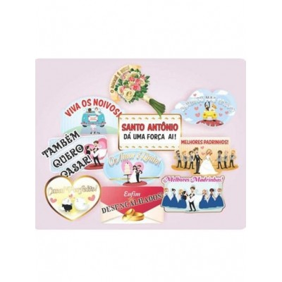 Placas Divertidas Frases Variadas Festa Casamento com 10 placas