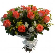 Buque com 12 Rosas Coral